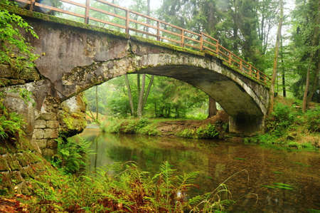 Very old bridge over the river Kamenici in Czech Switzerland