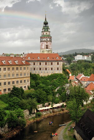 Beautiful historical town Cesky Krumlov in South Bohemia