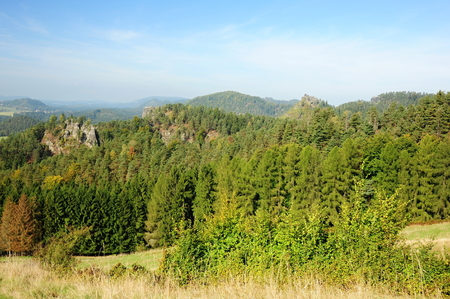 czech switzerland: Landscape in Czech Switzerland - panoramic view of the rocks and forests