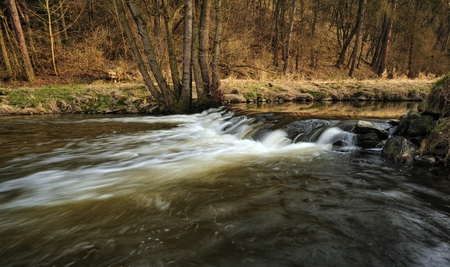 weir: Panorama of a small weir on the river in early spring