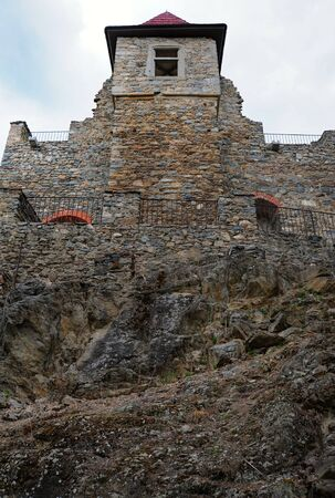 built: Very old castle built on a high rock Stock Photo