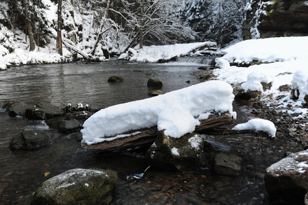 Winter river with snow in the Czech Switzerland Stock Photo
