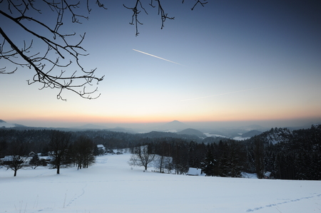 czech switzerland: Winter panorama in the Czech Switzerland with snow and frost