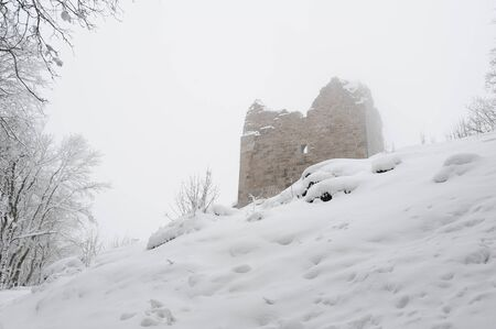 Snow and frost in the evening at the ruins