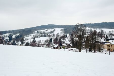 Winter frosty snowy landscape with trees and cloudy sky
