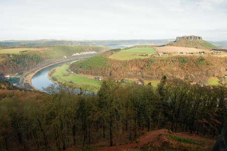 View from Koenigstein Fortress on the surrounding Saxon Switzerland