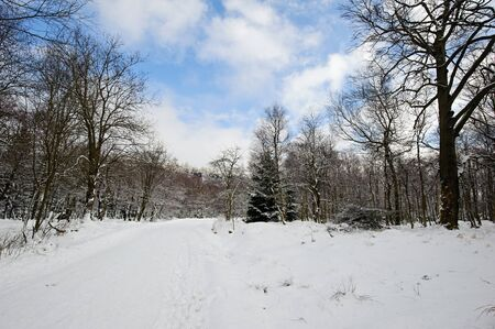 Winter landscape covered with snow and snow clouds