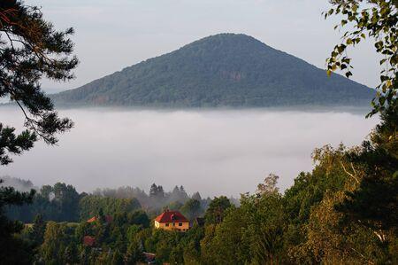 Beautiful foggy autumn landscape of czech switzerland Reklamní fotografie