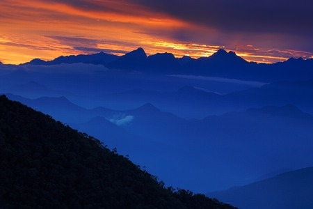 marta: Looking down on Sierra Nevada de Santa Marta, high Andes mountains of the Cordillera, Paz, Colombia Stock Photo