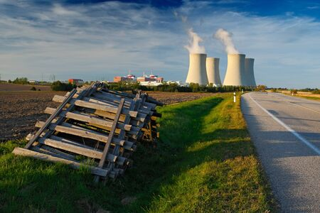 temelin: Nuclear power plant Temelin in Czech Republic Europe, with road and blue sky