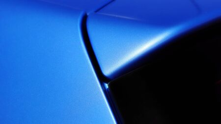 fitting: Detail of the blue car body and rear window fitting