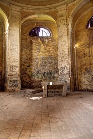 defaced: Old abandoned chapel with defaced walls