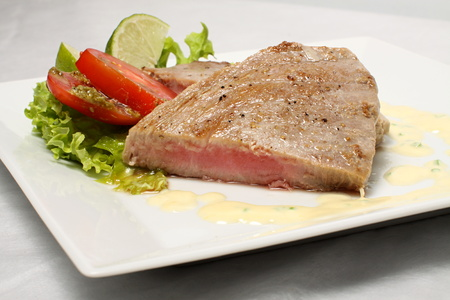 the medium: Cut of medium roasted steak