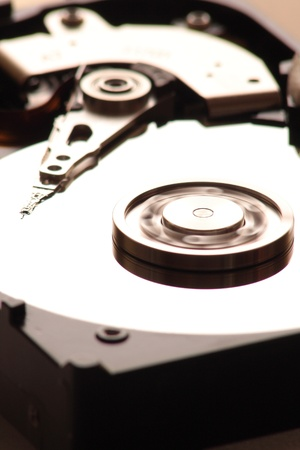 gigabytes: Hard disk and plate rotation Stock Photo
