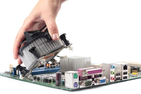 mainboard: Computer mainboard hardware and installation cpu fan Stock Photo