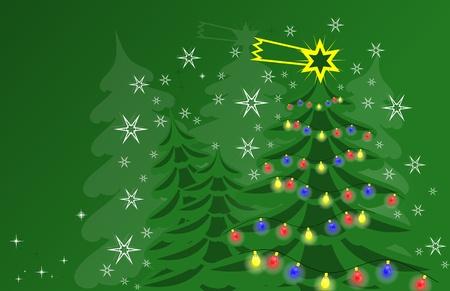 Green Christmas card and stars photo