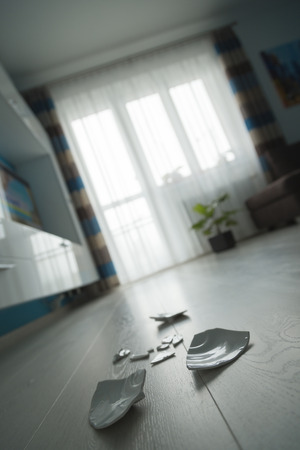 clumsiness: shattered platter on the floor in a nice living room Stock Photo