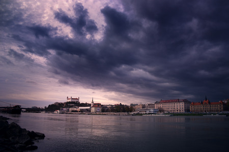 exceptionally: Bratislava skyline with dramatic sky during the day, Stock Photo