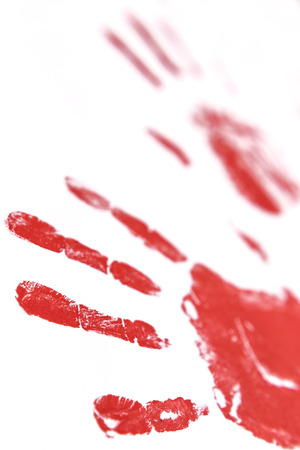 hindering: fingerprints and hands soaked in blood hindering stop