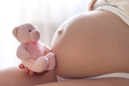 Close up of a cute pregnant belly with teddy bear photo