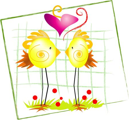 two sketych little birds in love