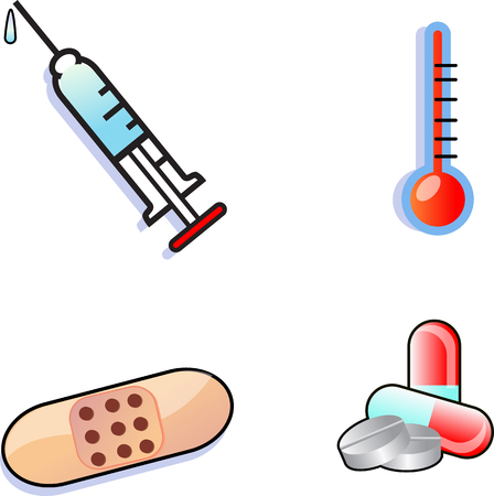 medical icon set a syringe , thermometer a bandage and some pills