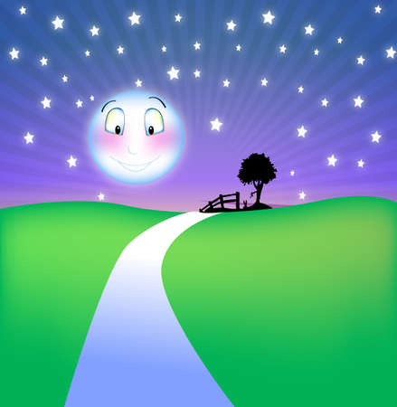 Happy moon at night