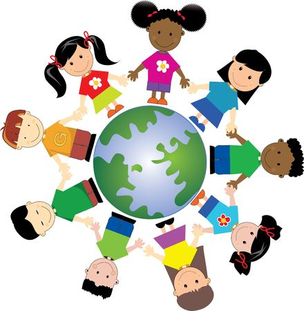 nations: kids around globe , united togather from different nationalities and places