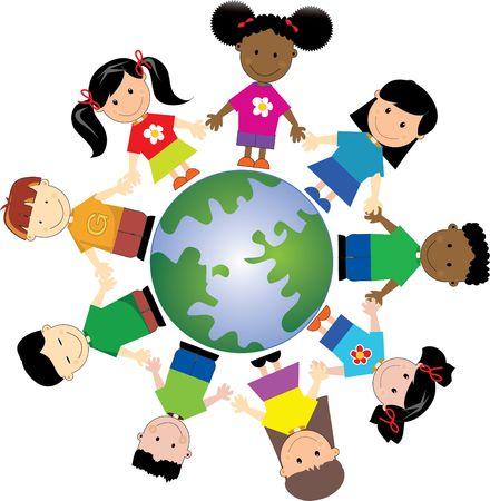 racismo: Ni�os en todo mundo, unidos togather de diferentes nacionalidades y lugares