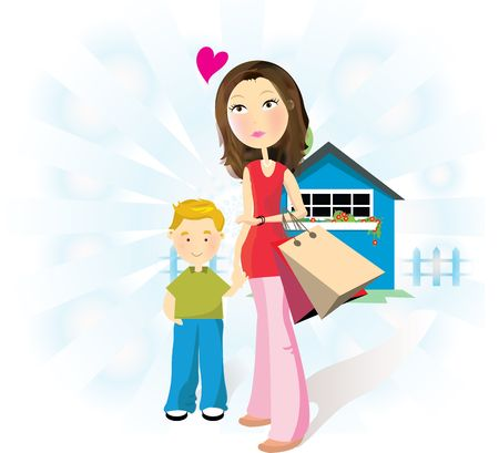 mother and child in front of a peaceful hut , mother taking son for shopping Stock Photo - 1920235
