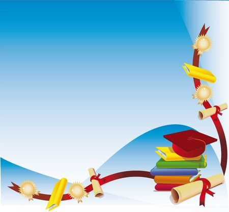 Bunch of books with diploma and a graduation cap as a corner background Stock Photo