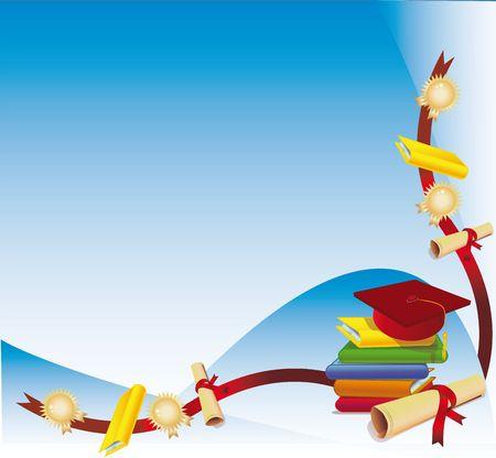 fondo de graduacion: Mont�n de libros y un diploma de graduaci�n de la tapa como un rinc�n de antecedentes