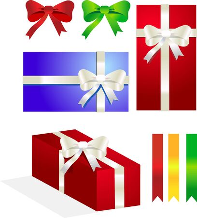 set of gifts and ribbons and bows Stock Photo