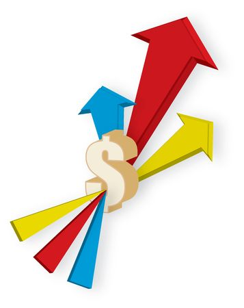 blue red and yellow Arrows showing increasing value of stock with dollar sign Stock Photo - 3882970