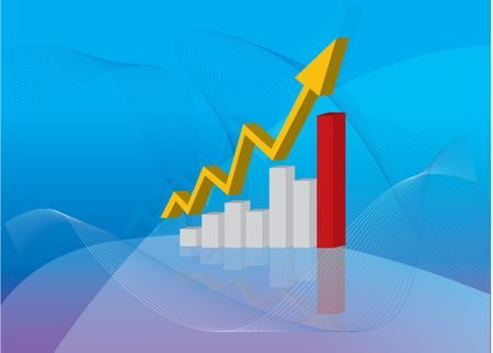 Business man standing with increasing graph showing value Stock Photo - 3882978