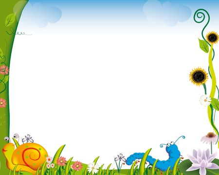 crawling insects frame with flowers and bugs Stock Photo - 3882966