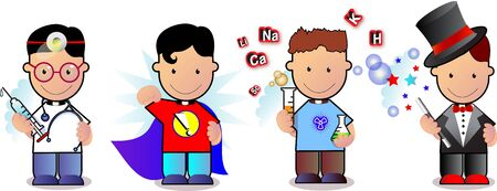 jugglery: set of characters including doctor, superboy, artist and magician Stock Photo
