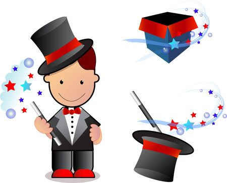 magician, magician box, hat with wand and stars