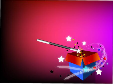 magician box with wand and stars
