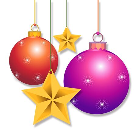 lenght: Christmas decoration isolated on white , star golden and balls hanging Stock Photo