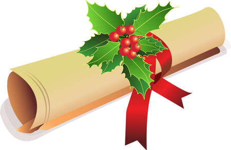 an old scroll for christmas invitation with a holy Stock Photo