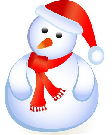 santa as a snowman standing isolated on white with red cap