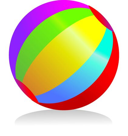 a circular ball with rainbow colours bright and a summer icon Stock Photo