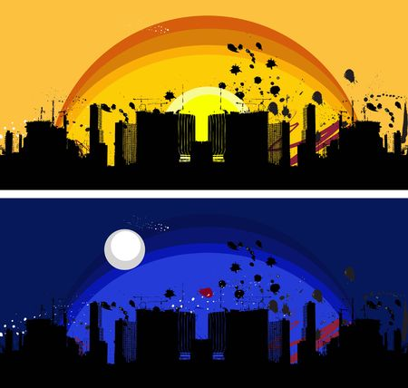 illustration of silhouette of a city scape with ink splatters and splashes