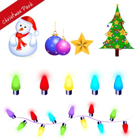 a collection of illustrations which are christmas related with lights and bulbs and sanata as a snowman Stock Photo