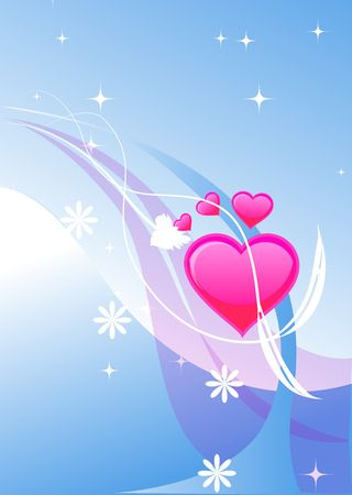 valentines heart illustraion on the beautiful colored background