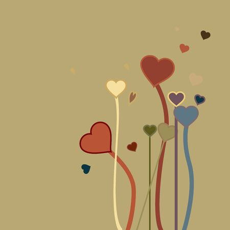 A loving painting or a print , with hearts growing in the garden Stock Photo
