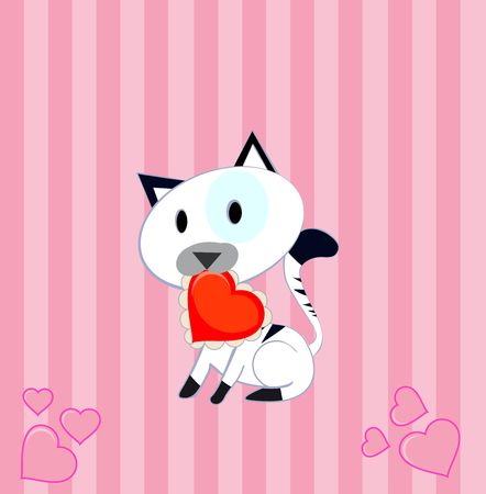 Little black and white kitty offering red  heart  Stock Photo