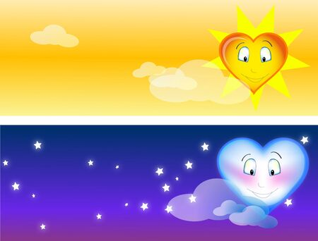 cosmic Romance day and night with heart shaped sun and moon in the sky