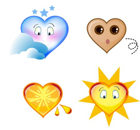 a set of symbols , heart shaped , earth sun , moon and a fresh orange part of a series of images Stock Photo